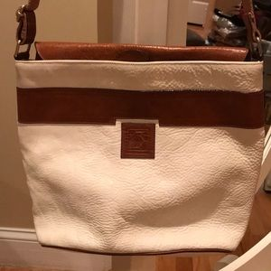 Handbags - White and brown all leather bag made in Italy